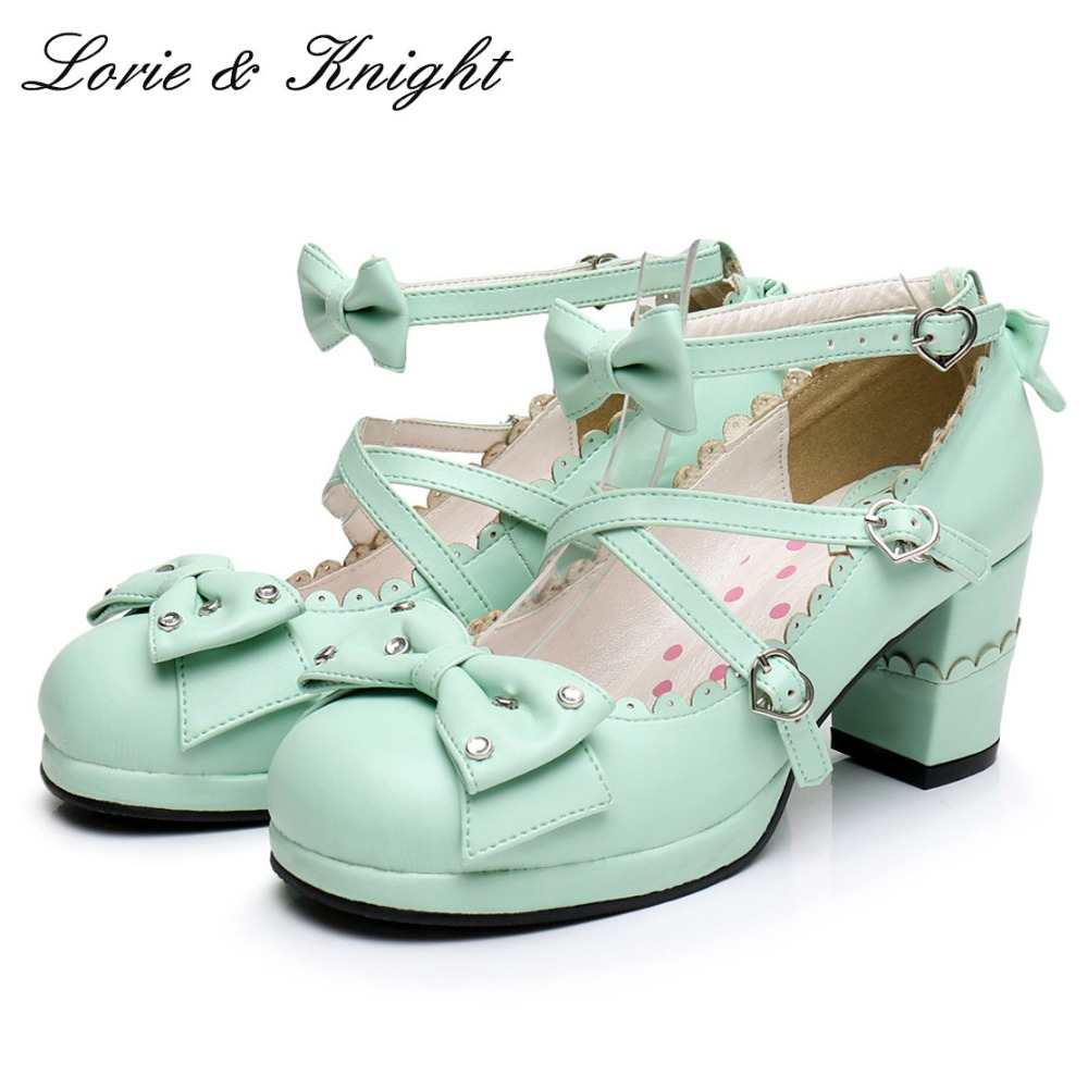 Harajuku Sweet Lolita Cosplay Chunky High Heel Shoes Rhinestone Bow Princess Shoes 2018 spring sweet bow elegant lolita cosplay shoes chunky high heel pumps princess party shoes