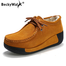 Winter Women Shoes Genuine Leather with Fur Shoes Woman Moccasins Flats Casual Cotton Warm Shoes Women Platform Loafers WSH3353