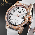 OE Ladies Luxury Quartz Clock Watch Fashion Women Bracelet Watch Leather Strap Watch Chains Waterproof Design Watch Relogio Gift