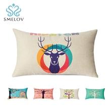 Smelov hot vintga Retro cotton linen chair pillow Home Decor office car lower back lumbar support cushion rectangle throw
