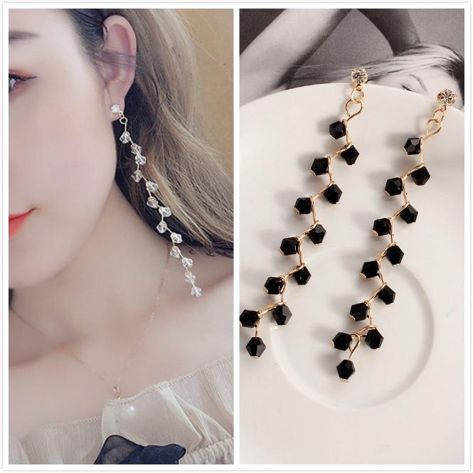 Long Tassel Drop Earrings Crystal Flower Fashion Jewelry boucle d'oreille Women Dangle Brincos Wedding Engagement Earring