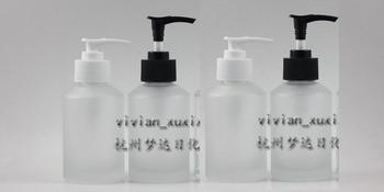 125ml transparent frosted Glass lotion bottle with black/white plastic pump,cosmetic packing,cosmetic bottle,packing for liquid