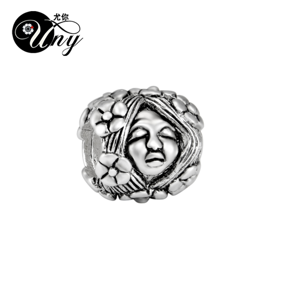 UNY Unique Beads Vintage DIY European bead Fit Pandora charm bracelet Beads 925 Silver Doll Stone Spacer Bead Fit Pandora Charms ...