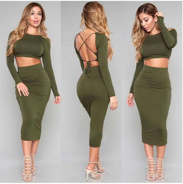 a0852d6d2f Army Green Crop top and Skirt Set Long Sleeved Crops and Skirt Set Ladies  Cropped and Skirt Suits Spring Fall NEW