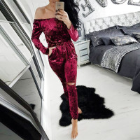 2016 Fashion Bodysuit Womens Shiny Velvet Off Shoulder Jumpsuit Casual Ladies Jumpsuits Romper Long Evening Party