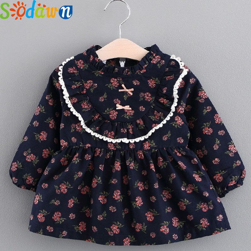 Sodawn Autumn New Fashion Sweet Floral Dolls Small Fresh Dress Childrens Clothing Baby Girls Clothes Baby Dress