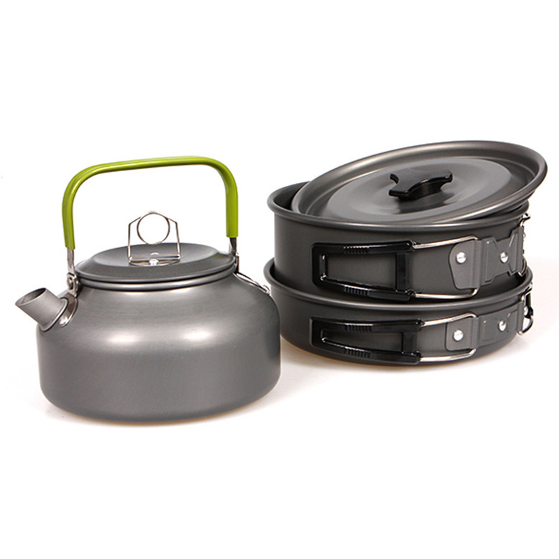3pcs Camping Hiking Picnic Cookware Cook Cooking Pot teapot Set Aluminum Outdoor Safety & Survival Z0605 vilead portable camping pot pan kettle set aluminum alloy outdoor tableware cookware 3pcs set teapot cooking tool for picnic bbq