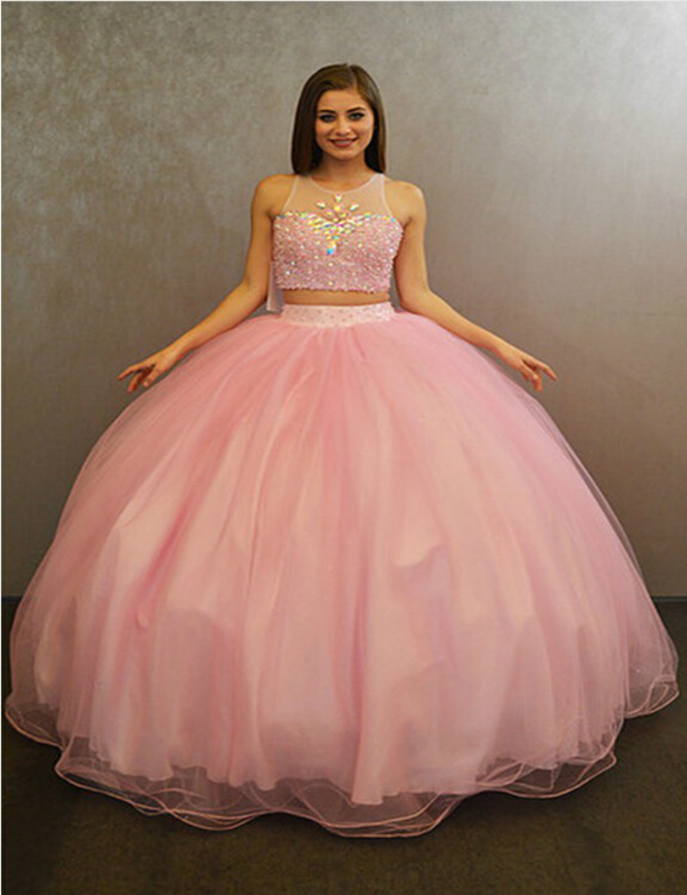 10147dc2988 High Quality Pink 2 Two Pieces Quinceanera Dresses Sweet 15 Dress With  Sparkly Crystals Beaded Floor Length Teenage Ball Gowns
