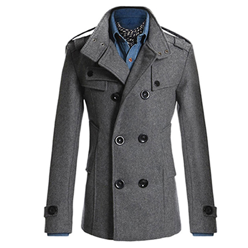 SANWOOD Men Double Breasted Winter Slim Warm Jacket Stylish Trench Coat Outwear