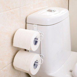 Double Layer Toilet Paper Tissue Holder Kitchen Multifunction Paper and Towel Holer with Hook