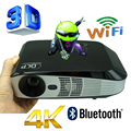 Bluetooth 4.0 Android 4.4 Wifi HDMI VGA USB Blue Ray de 3000 ANSI 3D Portátil HD 1080 P LCD de Video LED Mini Proyector DLP 4 K Proyector