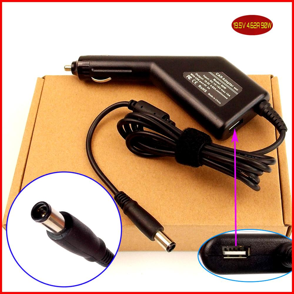 цена на Laptop DC Power Car Adapter Charger 19.5V 4.62A 90W + USB Port for Dell Latitude E6320 E6330 E6400 E6410 E6420 E6430