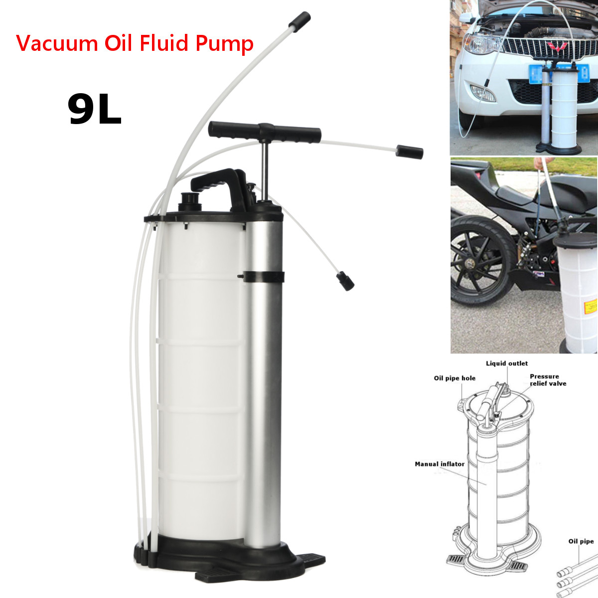 9L Vacuum Oil Fluid Suction Extractor Fuel Pump Car Tank Manual Change Transfer 1 1 9l