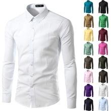 12 Colors 5XL Men Shirts Long Sleeve Trend Casual Shirt Blouses Clothes Hot Sale Camisetas Chemise Homme