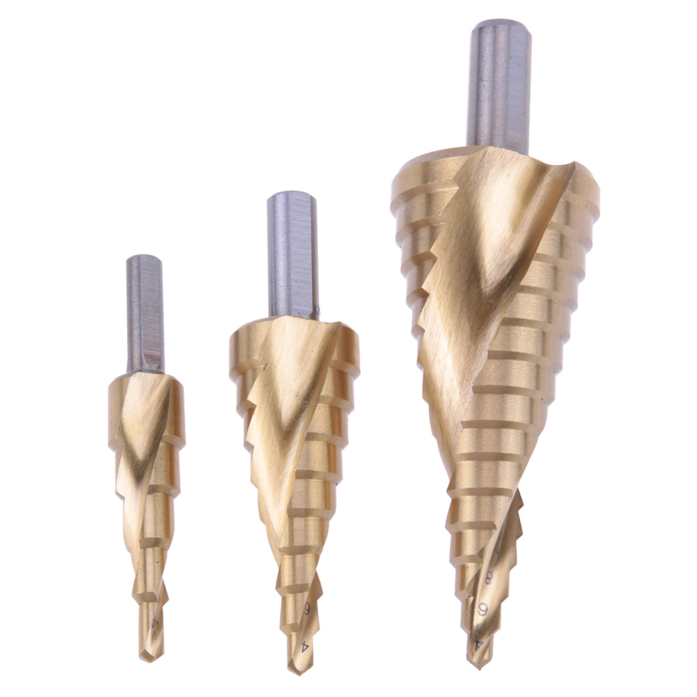 3pcs/set HSS Helix Spiral Cone Hole Cutters Stepped Drills Titanium Coated Step Drill Bit Steel Metal Drill Bit Cutting Tool set jelbo cone step drill hole tools countersink 3pc drill bit set power tools step drill bit for metal power tools set hole cutter