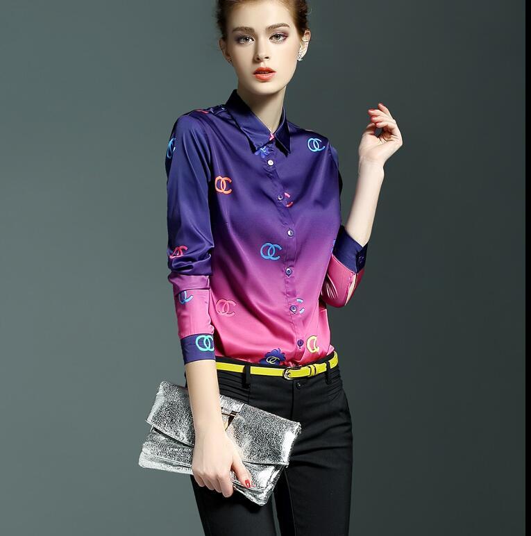 High quality Women s Original brand spring casual gradient print shirt female long sleeve OL shirt