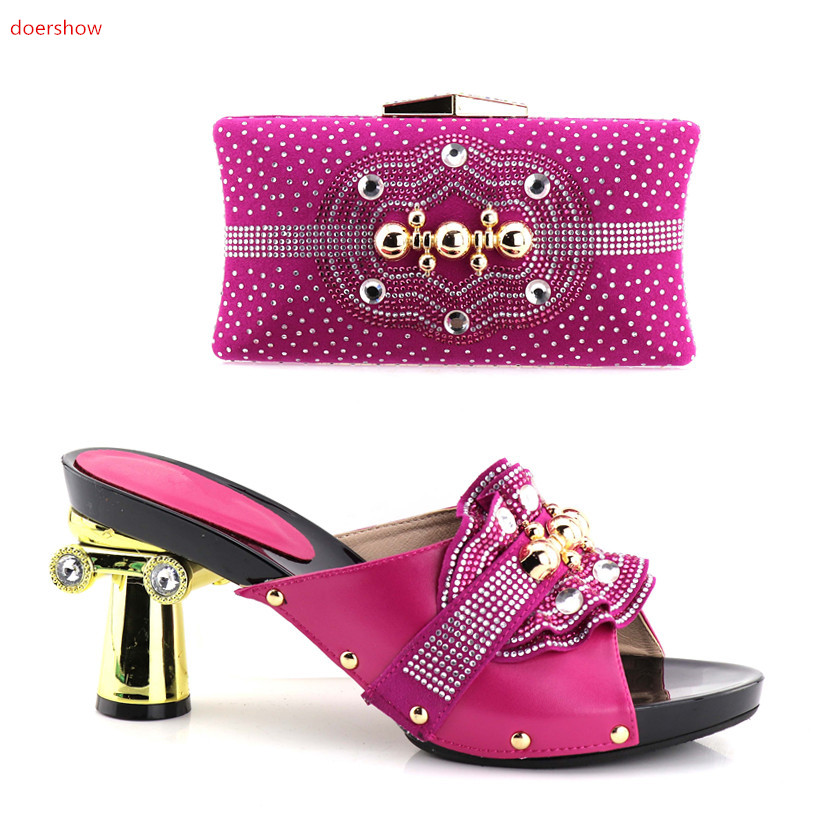 doershow New Arrival fuchsia Color Italian Shoes with Matching Bag Set Decorated with Rhinestone African Shoe and Bag Set !HV1-6 doershow italian shoes with matching bags 2018african shoe and bag set italian design african shoes and bag set for party hv1 45