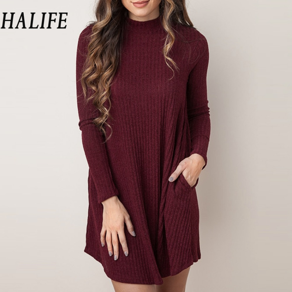 HALIFE Women Christmas Sweaters And Pullovers Long Sleeve Long Knitted Sweater Dress Casual Solid Winter jumper Pull Femme QZS10