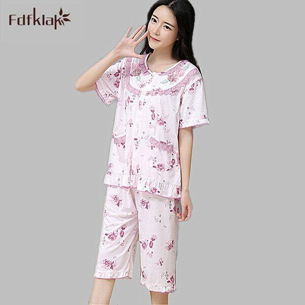 De alta Calidad de Verano de Manga Corta Pijama Conjunto Pijamas Femme Mujer Pijama De Algodón ropa de Dormir Ropa de Hogar de Gran Tamaño XXL E0158