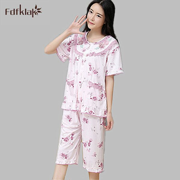 b3187b8e04 High Quality Short Sleeved Summer Pajama Set Pijamas Mujer Cotton Pyjama  Femme Sleepwear Home Clothes Large Size XXL E0158 -in Pajama Sets from  Women s ...