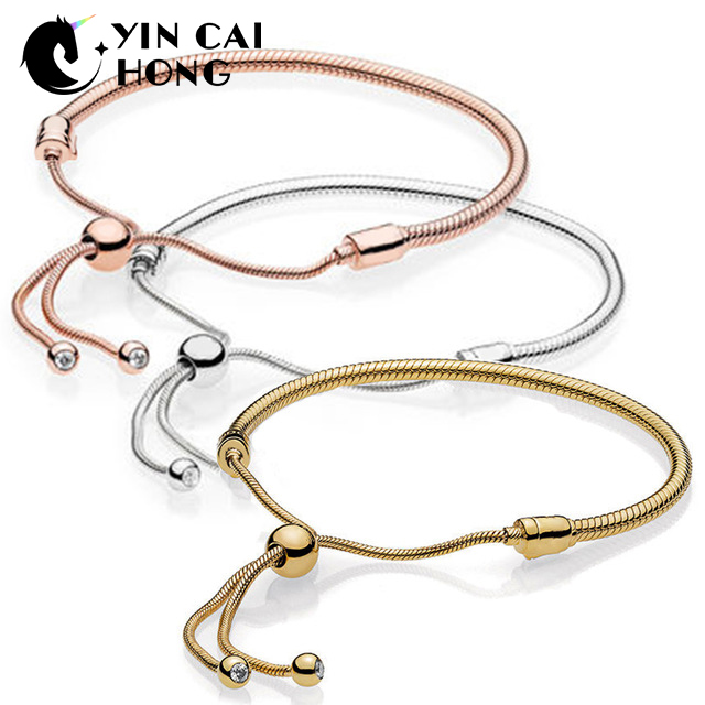 YCH 100% 925 Sterling Silver Original 1:1 567110CZ Shine MOMENTS Sliding Bracelet Rose Gold Selection 587125CZ 597125CZYCH 100% 925 Sterling Silver Original 1:1 567110CZ Shine MOMENTS Sliding Bracelet Rose Gold Selection 587125CZ 597125CZ