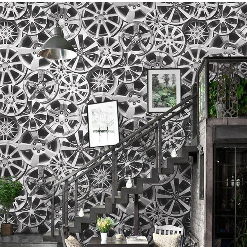 beibehang Wallpaper retro nostalgia industrial wind wallpaper steel ring car gear restaurant bar cafe background Papel de parede