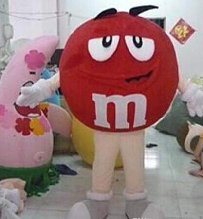 Rouge M & M M M chocolat bonbons mascotte Costume adulte dessin animé personnage Costumes mascotte costume fantaisie robe Costume de fête