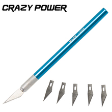 CRAZY POWER Engraving Knife Metal Handle Craft Scalpel DIY Tools With 6 pcs Blade for PC Laptop Mobile Phone Repair Tool