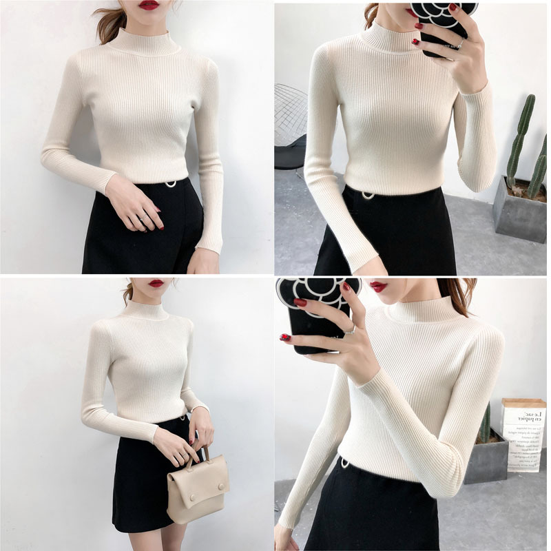 SVOKOR Sweater Women Solid Slim Half-neckline Warm Knitwear Winter Long Sleeve Turtleneck Top 5
