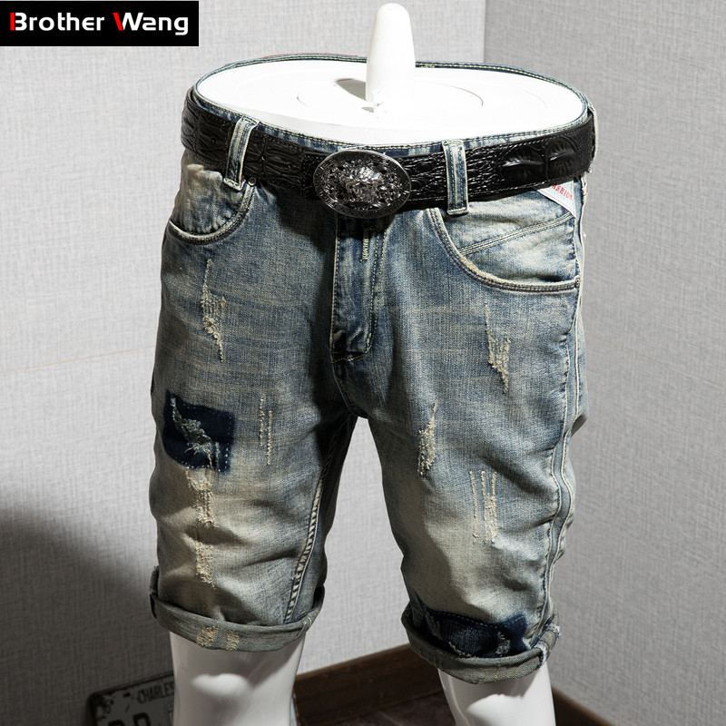 Denim Shorts Jeans Ripped Classical Elastic Men's Casual Fashion Summer Brand New Slim-Fit