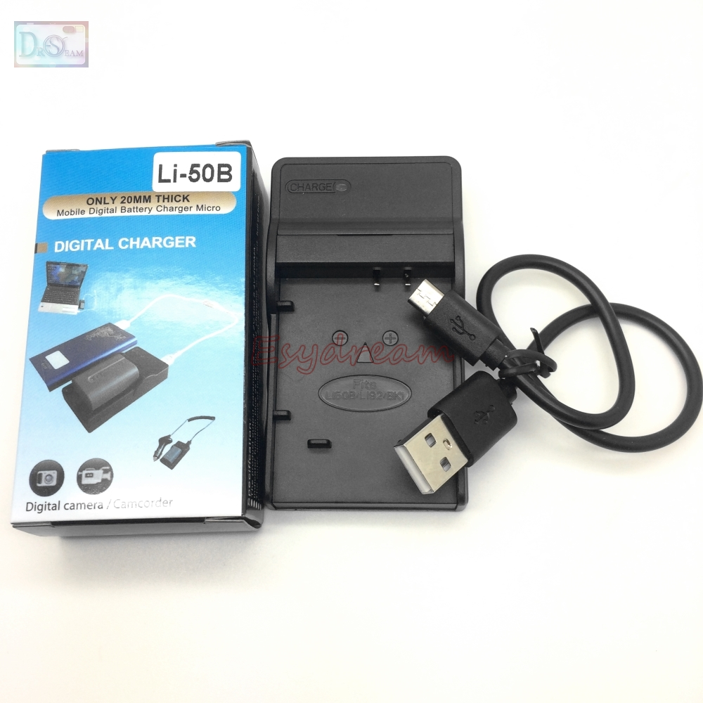 LI-50C LI 50C <font><b>USB</b></font> <font><b>Charger</b></font> for Olympus LI-50B 50B LI50B LI-92B 92B BK1 Battery Digital Camera SZ-30MR TG-820 VH-410 VH-<font><b>510</b></font> VR-340 image