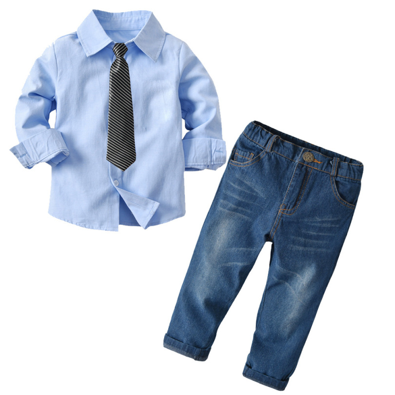 2019 Baby Autumn Winter Suits Boys Cotton Long Sleeve Shirt Denim Pant Casual Warm Suit Children's Three-piece Set to Send a Tie(China)