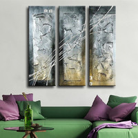 3 Panel Pictures Hand Painted Modern Abstract Graffiti Line Oil Painting On Canvas Acrylic Paintings Pallete