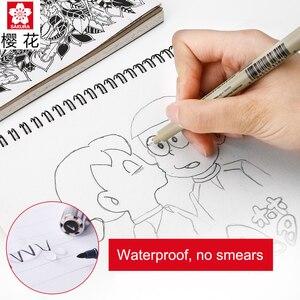 Image 5 - Sakura 6 stücke Pigma Micron Stift, Archiv Pigment Tinte Zeichnung Stifte Manga Grundlegende Set für Künstler 005,01, 05,08, FB Pinsel, Gelly roll Weiß