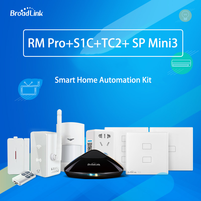Broadlink RM PRO+ Universal Remote Controller WiFi IR RF+SP Mini3 Smart WiFi Plug Socket+TC2 Wall Light Switch+ S1C Alarm Kit