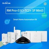 Broadlink RM PRO + универсальный пульт дистанционного управления WiFi ИК РФ + SP Mini3 Smart Wi Fi розетка + TC2 стены выключатель света + S1C комплект сигнализаци