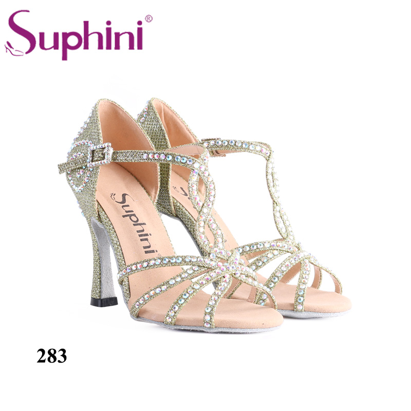 Woman Dance Shoes Latin Shoes Green Glitter Sparkle High Heel Professional Suphini Dance Shoes Latin Woman Free Shipping