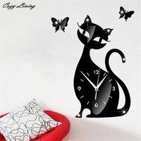 3D зеркало настенные часы Стикеры милый кот бабочка зеркало черный настенные часы современный Дизайн Домашний Декор Часы настенные Стикеры ...