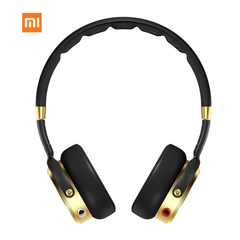 Original Xiaomi Headset Black+Champagne Gold Mi HiFi Stereo Headphone with Mic Foldable 3.5mm Music Earphone Microphone Newest ditmo dm 5300 stereo headset headphone w microphone red black