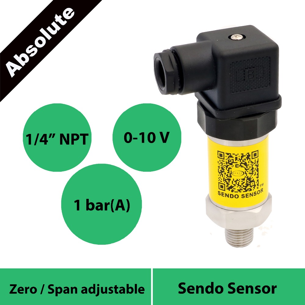 absolute pressure sensor 0-10V, 15 24 30 vdc power, 100kpa/1bar/15psi/0.1mpa abs pressure, 1/4NPT, stainless steel transmitterabsolute pressure sensor 0-10V, 15 24 30 vdc power, 100kpa/1bar/15psi/0.1mpa abs pressure, 1/4NPT, stainless steel transmitter