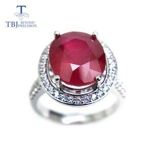 Image 2 - TBJ, elegancki pierścionek zaręczynowy z naturalny rubin w 925 sterling silver gemstone jewelr dla kobiet jako ślub walentynki, prezent