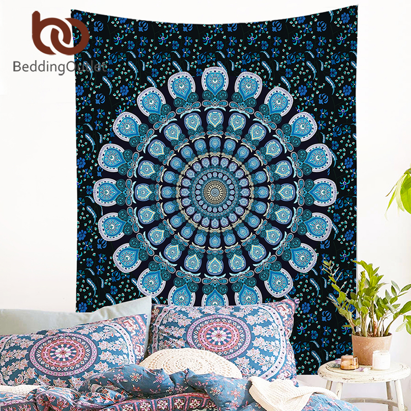 BeddingOutlet Peacock Tapestry Blue Home Textiles Indian Mandala Tapestry Wall Hanging Bohemian Bedspread Hippie Sheet