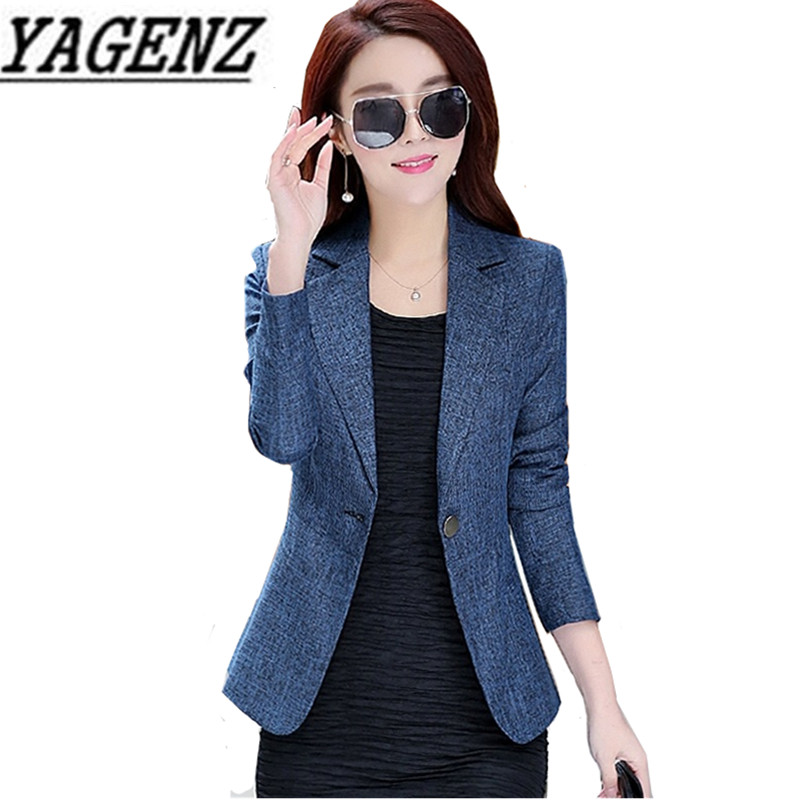 Ladies Blazer 2019 New Spring Long Sleeve Slim Blaser Women Suit Jacket Female Blazer Blue Flower Gray Blazer Plus Size S-4XL