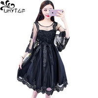 UHYTGF 2019 New Fashion lace spring autumn dress O neck pullover elegant girl party dresses Mesh tutu Sexy boho dress womens 259
