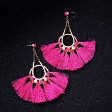 Fan Shape Dangling Hot Pink & Black Tassel Earrings Fashion Indian Jewelry Ethnic Big Earrings for Women