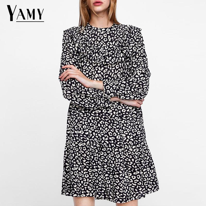 Vintage leopard print long sleeve <font><b>dress</b></font> women autumn <font><b>dress</b></font> elegant ruffles <font><b>red</b></font> party <font><b>dress</b></font> <font><b>Sexy</b></font> mini <font><b>christmas</b></font> <font><b>dress</b></font> vestidos image
