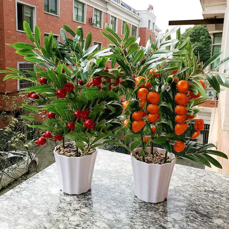 Buy home decor fruit orange cherry tree for Fruit orange decoration