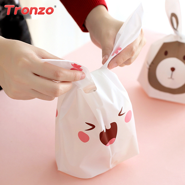 Tronzo 50pcs Cute Bunny Cookies Bag Rabbit Ear Plastic Candy Gift Bag Box Easter Wedding Decoration Bridal Party Supplies