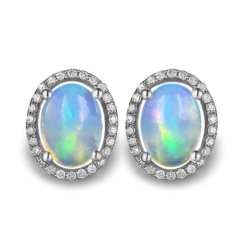 ZHHIRY Anting Opal Api Alami Permata Asli Batu Padat 925 Sterling Silver Earrings Nyata Untuk Wanita Perhiasan
