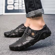 Очень крутые мужские прогулочные туфли из натуральной кожи, большие размеры 38-47, уличные Нескользящие кроссовки для вождения, мягкая спортивная обувь без шнуровки
